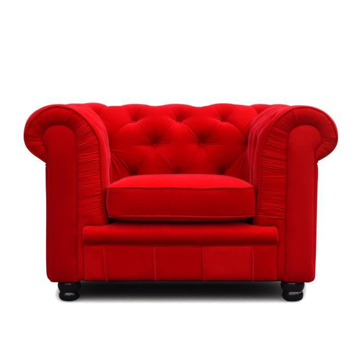 Chesterfield 1 place velours fauteuil chester achat vente fauteuil mat - Fauteuil chesterfield rouge ...
