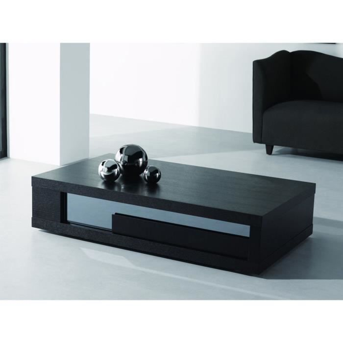 Table basse rectangulaire moli en mdf plaqu ch ne noir - Table basse rectangulaire noire ...