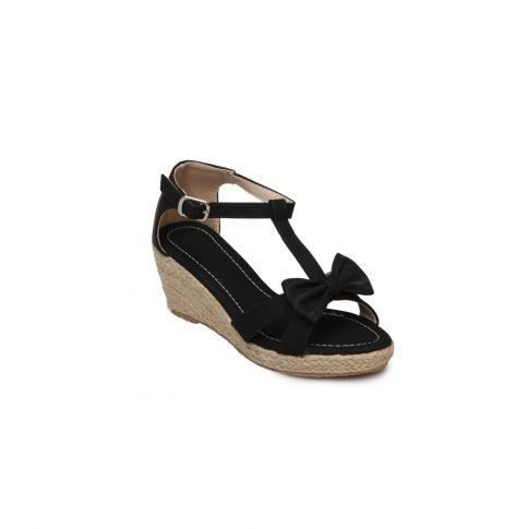 sandale enfant compens e noeud noir noir noir achat. Black Bedroom Furniture Sets. Home Design Ideas