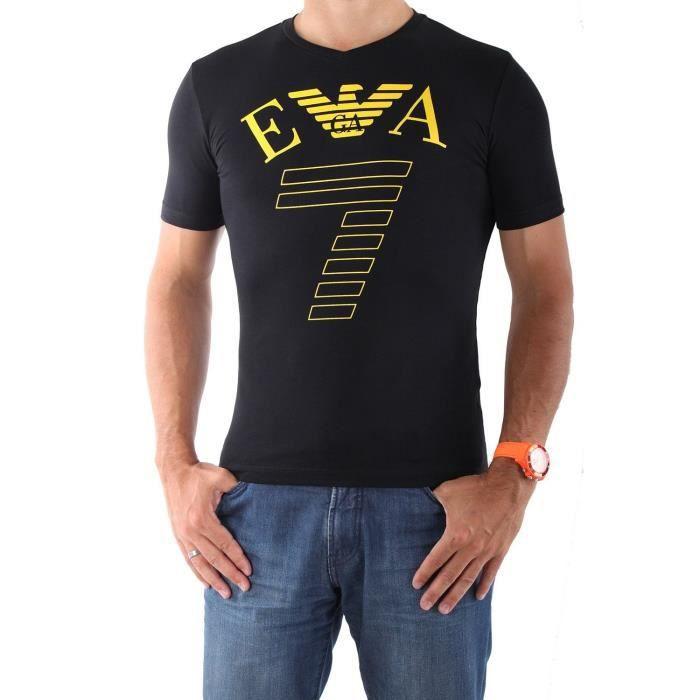 emporio armani t shirt homme train graph ea7 273754 5p254 noir jaune noir noir achat vente t. Black Bedroom Furniture Sets. Home Design Ideas