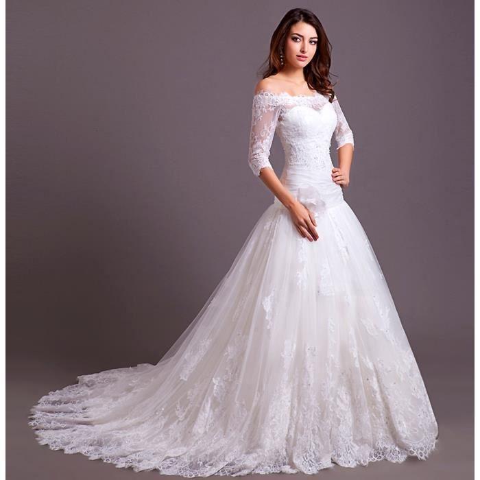 robe de mariee blanche avec traine la mode des robes de france. Black Bedroom Furniture Sets. Home Design Ideas