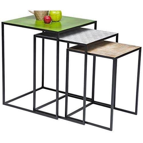 kare design table d 39 appoint carr e paillet lot de 3 rouge achat vente table d 39 appoint kare. Black Bedroom Furniture Sets. Home Design Ideas