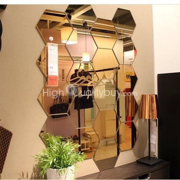 12 pcs ensemble moderne 3d miroir sticker mural for Objet de decoration pour chambre