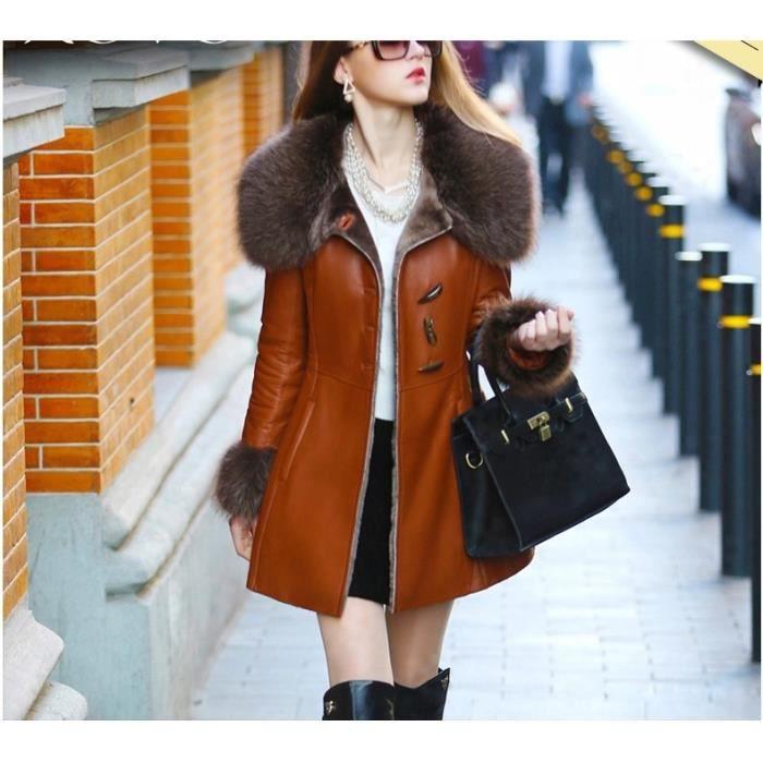 manteau cuir femme fourrure de renard achat vente blouson cdiscount. Black Bedroom Furniture Sets. Home Design Ideas