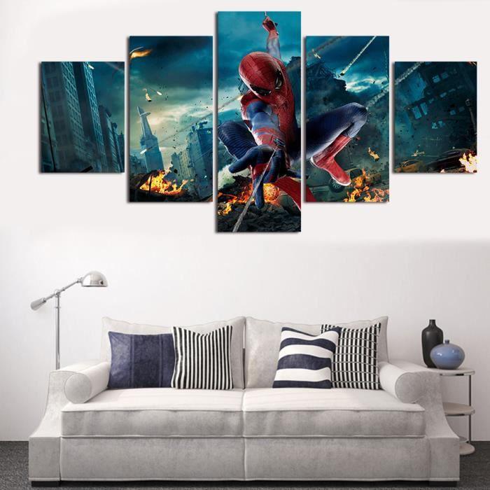 Spider man poster tableau peinture sur toile tableau decoration peinture sur toile peint a la for Peinture decoration murale