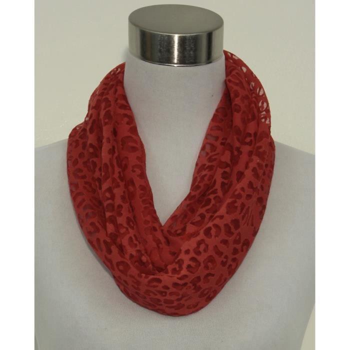 snood foulard col femme rouge t chet l opard visc rouge achat vente echarpe foulard. Black Bedroom Furniture Sets. Home Design Ideas