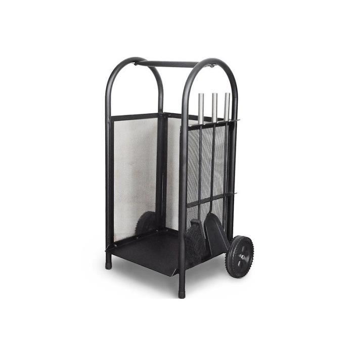 serviteur chariot bois accessoires de chemin e 2001004 achat vente panier porte buches. Black Bedroom Furniture Sets. Home Design Ideas