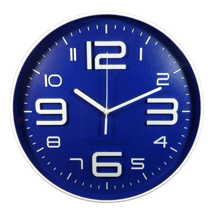 horloge pendule murale silencieuse bleu fonc achat vente horloge cdiscount. Black Bedroom Furniture Sets. Home Design Ideas