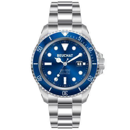 montre beuchat homme argent bleu acier beu1950 6 achat vente montre montre beuchat homme. Black Bedroom Furniture Sets. Home Design Ideas