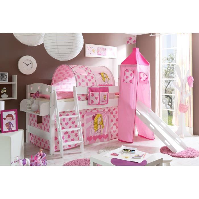 Lit mezzanine toboggan tour kenny blanc princesse complet - Tour de lit princesse disney ...