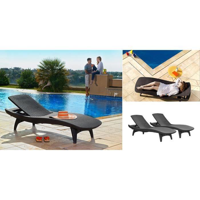 lot de 2 bains de soleil graphite keter achat vente. Black Bedroom Furniture Sets. Home Design Ideas