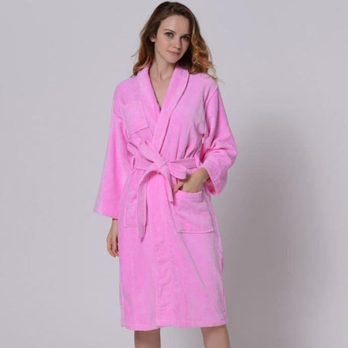 Peignoir 100 coton femme rose achat vente peignoir for Peignoir eponge femme