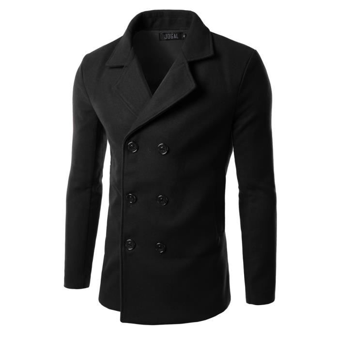 manteau homme caban homme hiver manteau en lain noir achat vente manteau caban cdiscount. Black Bedroom Furniture Sets. Home Design Ideas