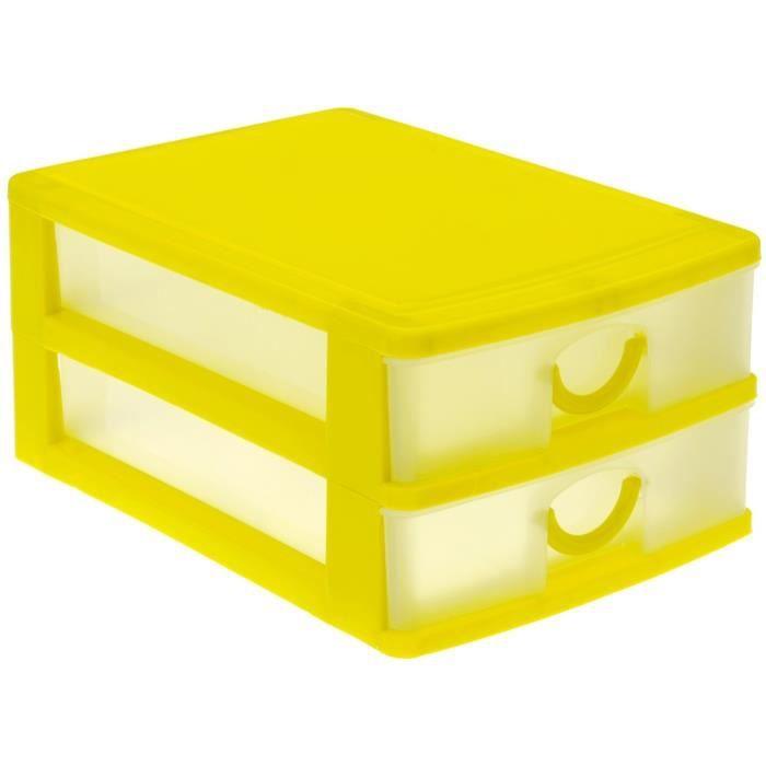 mini armoire de poche bloc de rangement 2 tiroirs jaune. Black Bedroom Furniture Sets. Home Design Ideas