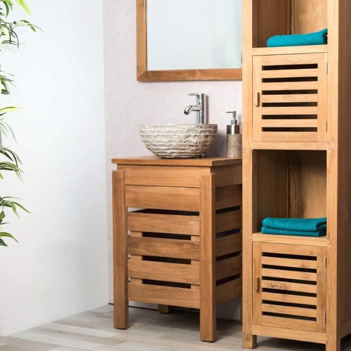 meuble zen salle de bain en teck 50 cm achat vente salle de bain complete meuble zen salle. Black Bedroom Furniture Sets. Home Design Ideas