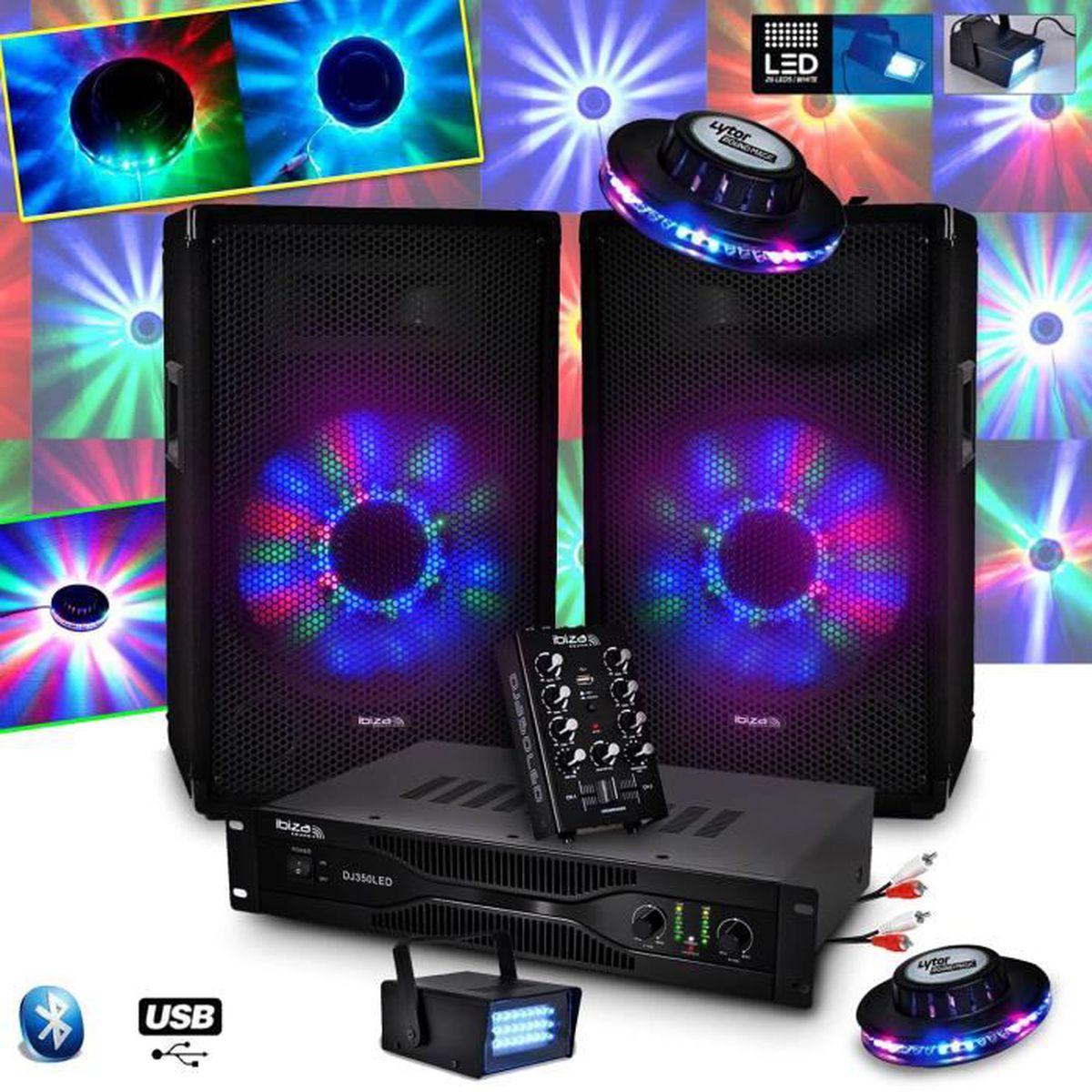 kit sono ibiza dj350led 10 2x250w table mixage usb bt ampli micro 2 effets ovni led. Black Bedroom Furniture Sets. Home Design Ideas