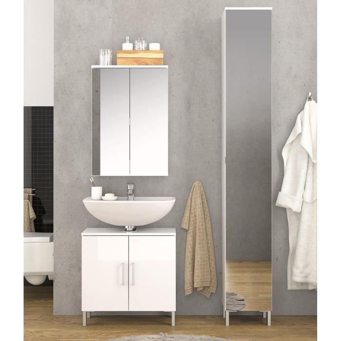 Lake meuble haut de salle de bain 1 porte 31 cm blanc for Meuble haut salle de bain 1 porte