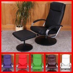 Fauteuil relax n44 avec pouf simili cuir 68x83x101cm vert achat vente fau - Fauteuil relax simili cuir ...