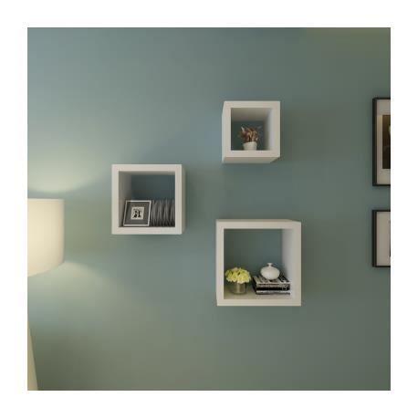 Etag res design murale 3 cubes blanc achat vente etag re murale etag res - Etagere murale cdiscount ...
