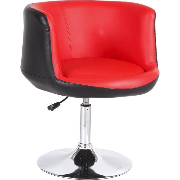 fauteuil design r glable simili cuir rouge et noir achat vente fauteuil noir cdiscount. Black Bedroom Furniture Sets. Home Design Ideas