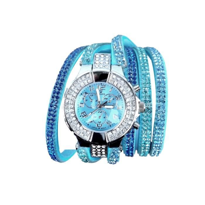 montre bracelet femme double tour cristal strass s achat vente montre bracelet femme adulte. Black Bedroom Furniture Sets. Home Design Ideas