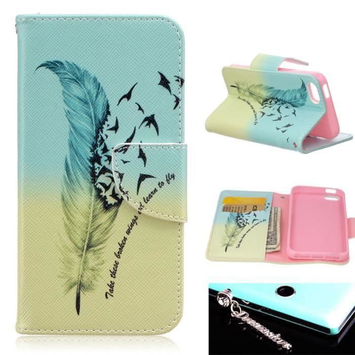 Wofalo une plume protection portefeuille cartes housse for Housse iphone 5se