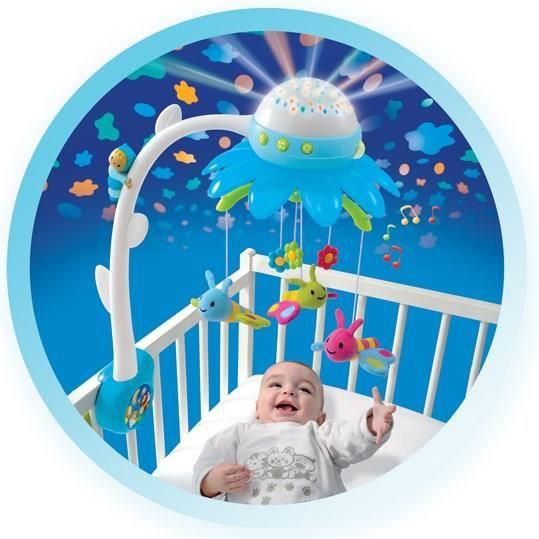 Cotoons mobile fleur bleu bleu et blanc achat vente - Veilleuse bebe projection plafond ...