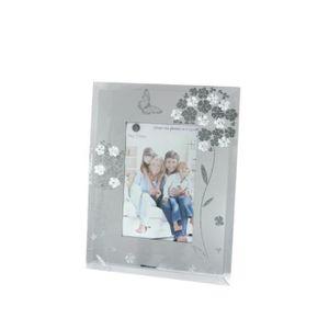 Cadre photo 10x15cm en verre avec d co fleurs nacr es et for Cadre photo en verre