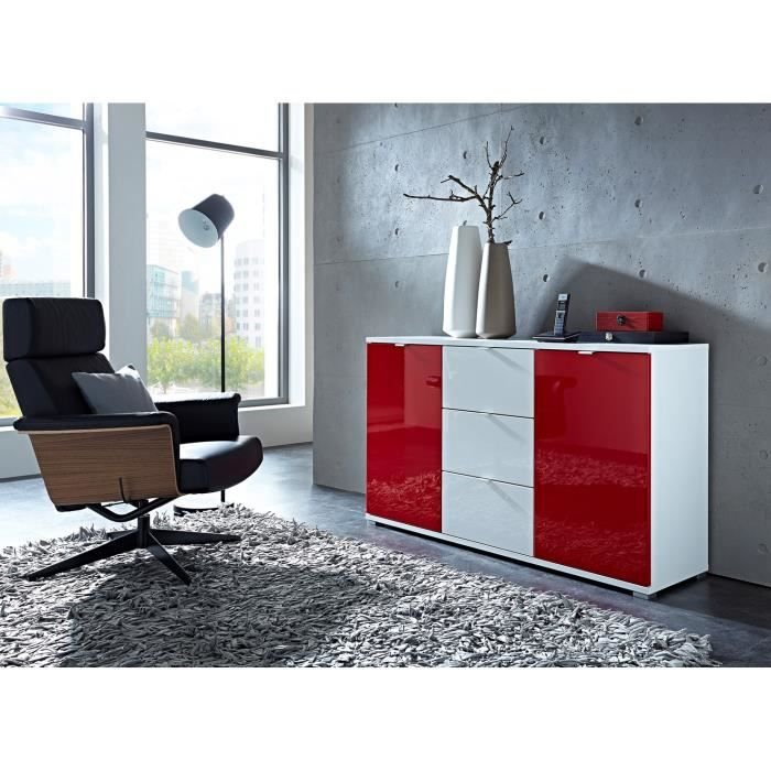 Meuble de rangement design 2 portes 3 tiroirs blanc rouge for Meuble de rangement rouge