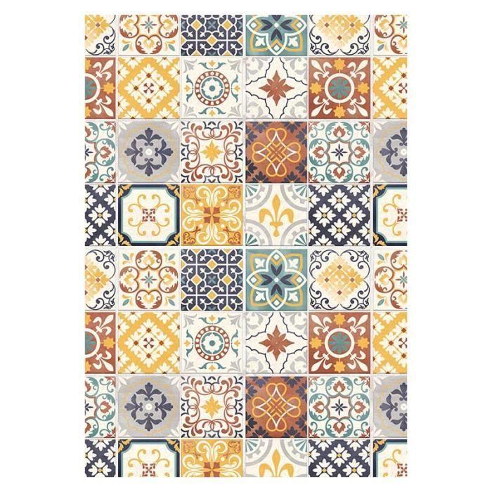 tapis motifs carreaux de ciment jaune 45x75cm toodoo 45 x 75 cm jaune achat vente tapis. Black Bedroom Furniture Sets. Home Design Ideas