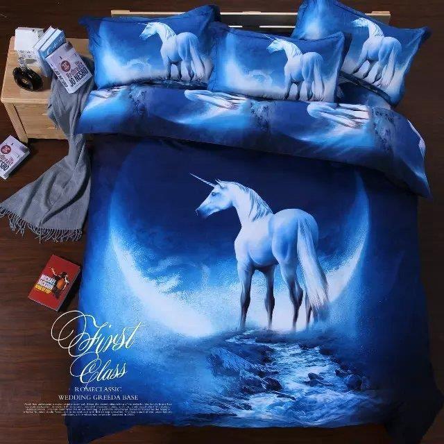 parure de lit s rie de ciel d 39 toiles licorne 200 230 cm 4 pieces achat vente housse de. Black Bedroom Furniture Sets. Home Design Ideas