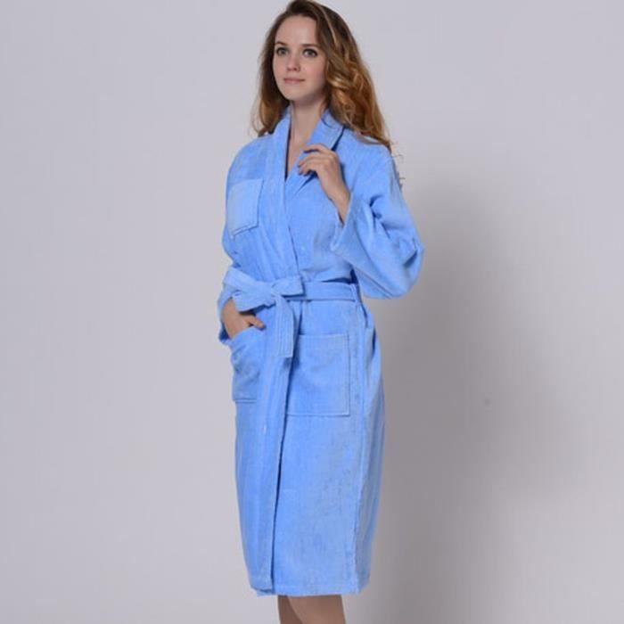 Peignoir 100 coton femme bleu achat vente peignoir for Peignoir eponge femme