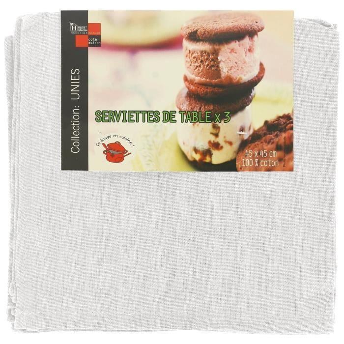 Lot 3 serviettes de table luxe 100 coton imprime uni blanc achat vente serviette de table - Linge de table luxe ...