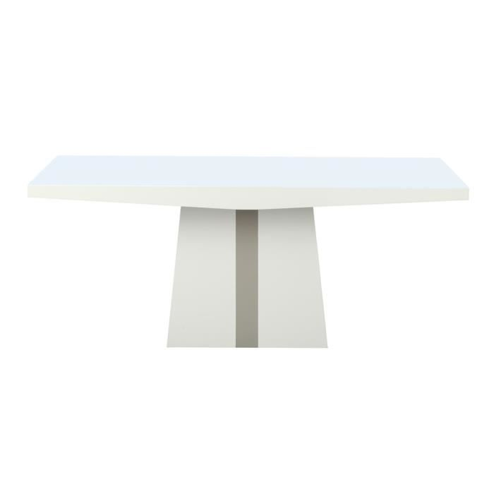 Table middey blanc taupe laqu e achat vente table a - Table a manger taupe ...
