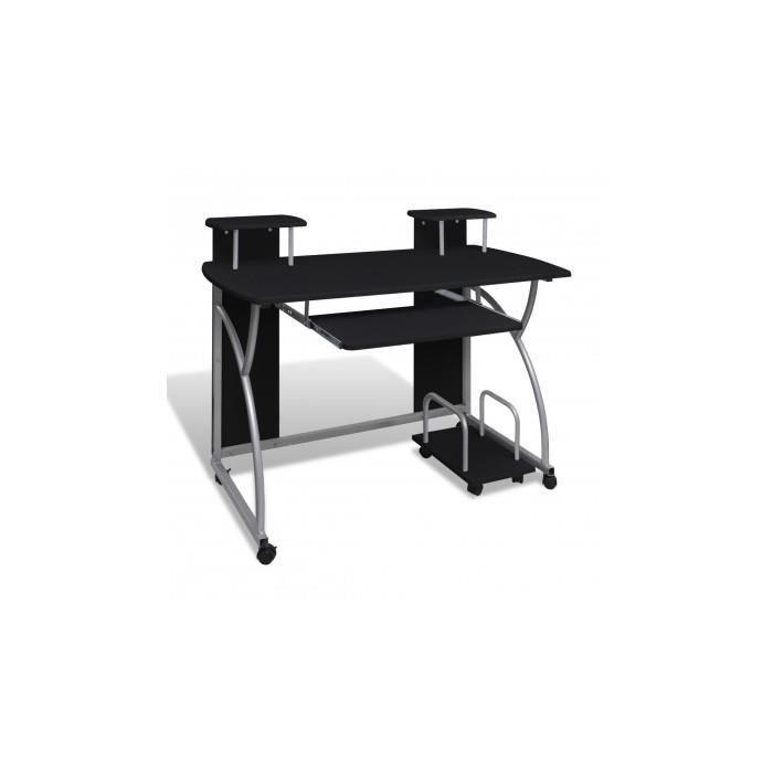 table de bureau noire pour ordinateur avec tag re achat vente bureau table de bureau noire. Black Bedroom Furniture Sets. Home Design Ideas