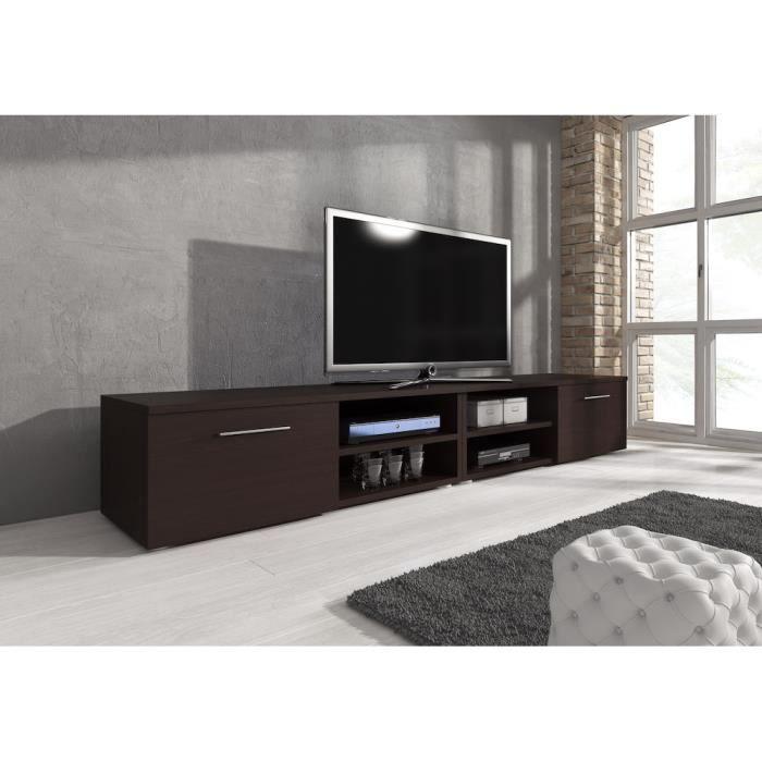 Reno meuble tv contemporain d cor ch ne fonc 240 cm achat vente meuble - Vente privee meuble tv ...