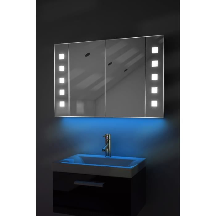 miroir de salle de bain avec capteur et prise rasoir interne k70b bleu taille l 600mm x l. Black Bedroom Furniture Sets. Home Design Ideas