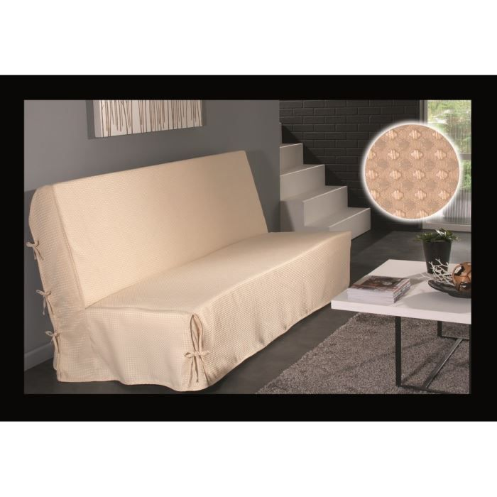 housse de clic clac nouettes beige effet satin achat vente housse de canape cdiscount. Black Bedroom Furniture Sets. Home Design Ideas