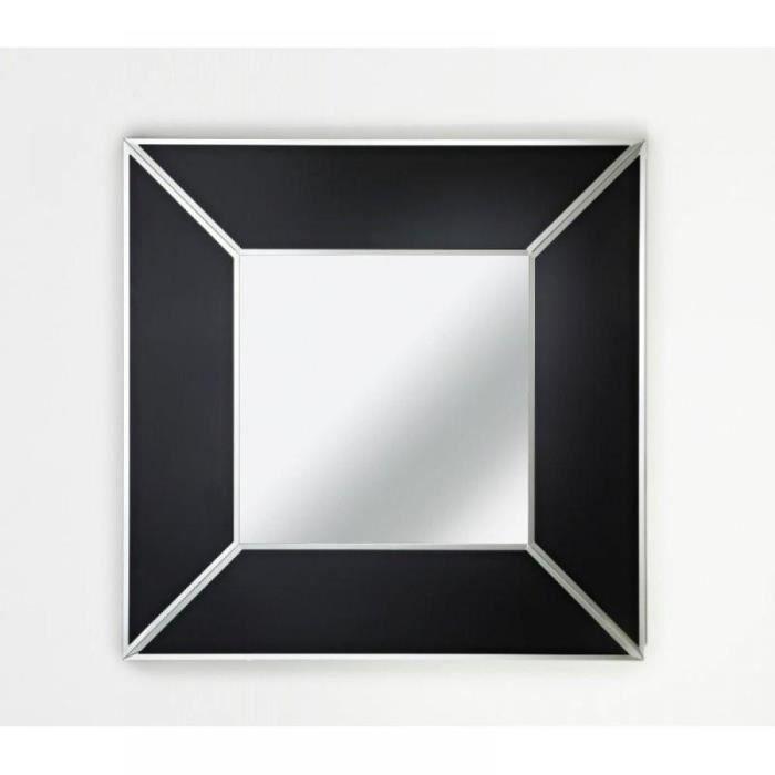 Diamant miroir mural design en verre noir achat vente for Miroir noir design