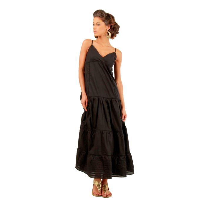 Robes de mode: Robe longue noire coton