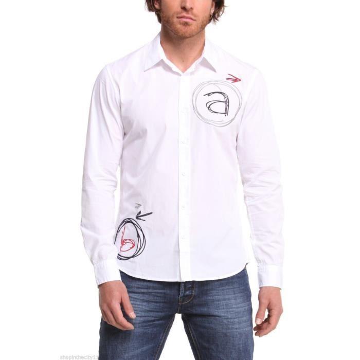 chemise desigual homme alaflecha blanche achat vente chemise chemisette chemise desigual. Black Bedroom Furniture Sets. Home Design Ideas