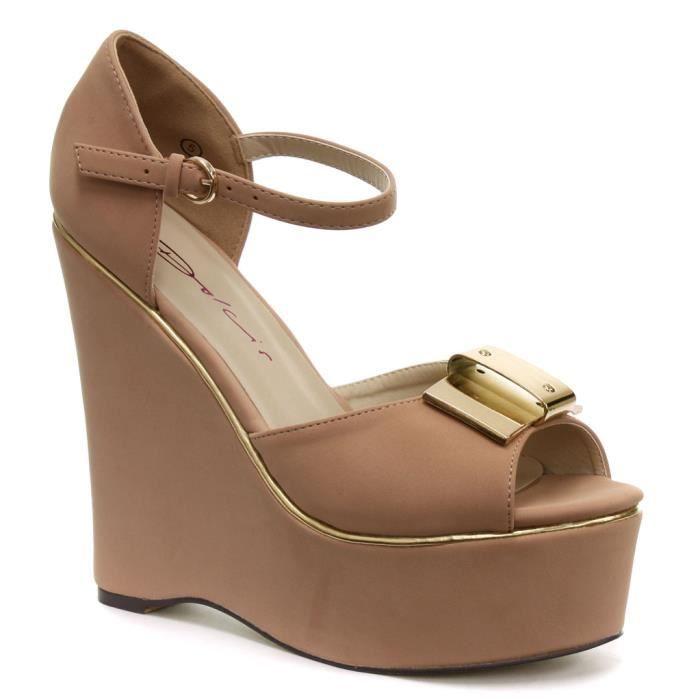 dolcis femme sandales avec wedge et n ud beige beige achat vente sandale nu pieds cdiscount. Black Bedroom Furniture Sets. Home Design Ideas