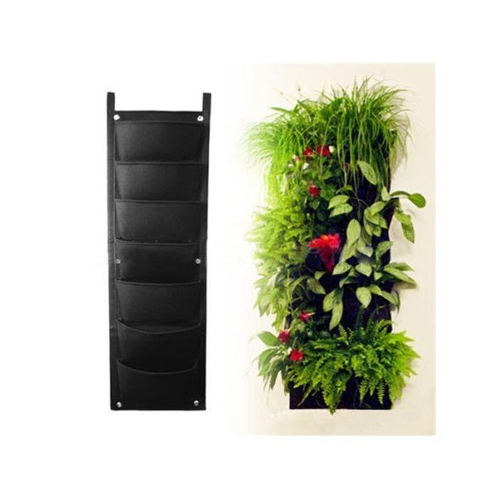 7 poche jardini re panier fleur suspendu noir achat. Black Bedroom Furniture Sets. Home Design Ideas