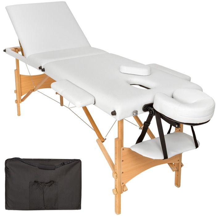 table de massage pliante 3 zones bois cosm tique lit de massage portable blanc tectake. Black Bedroom Furniture Sets. Home Design Ideas