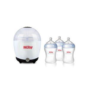 NUBY Stérilisateur one touch avec 3 biberons souples 240ml