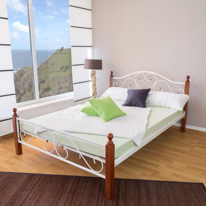 140x200 superbe lit metal design moderne blanc et bois achat vente struct - Structure de lit 140x200 ...