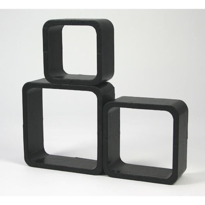 3 etag res cubes murale rangement noir design achat vente objet d coratio - Cube de rangement mural ...