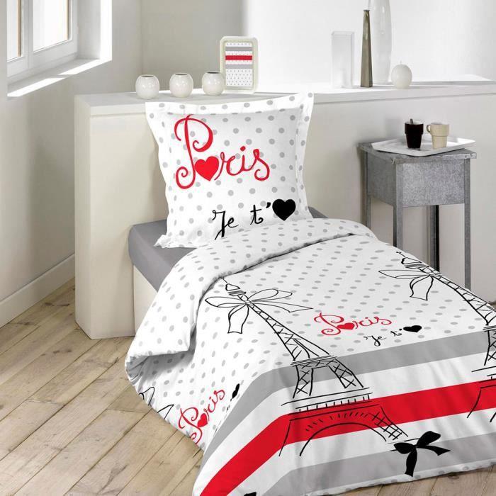 housse de couette 140 x 200 cm taie paris chic achat vente parure de couette soldes. Black Bedroom Furniture Sets. Home Design Ideas