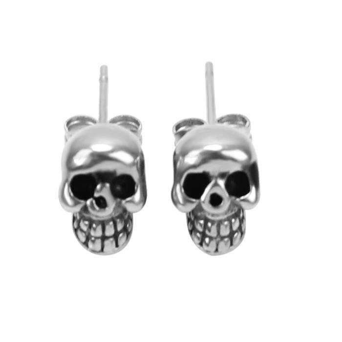 1 paire punk squelette cr ne t te clou boucles d 39 oreilles bijoux femmes hommes achat vente. Black Bedroom Furniture Sets. Home Design Ideas