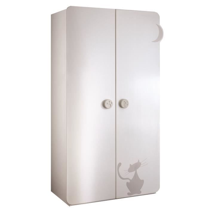 kitty armoire 2 portes blanc et taupe achat vente armoire commode kitty armoire cdiscount. Black Bedroom Furniture Sets. Home Design Ideas